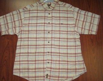e91c503f4b9e Woolrich Shirt Short Sleeve Khaki 80s rustic Mens Vintage extra large button