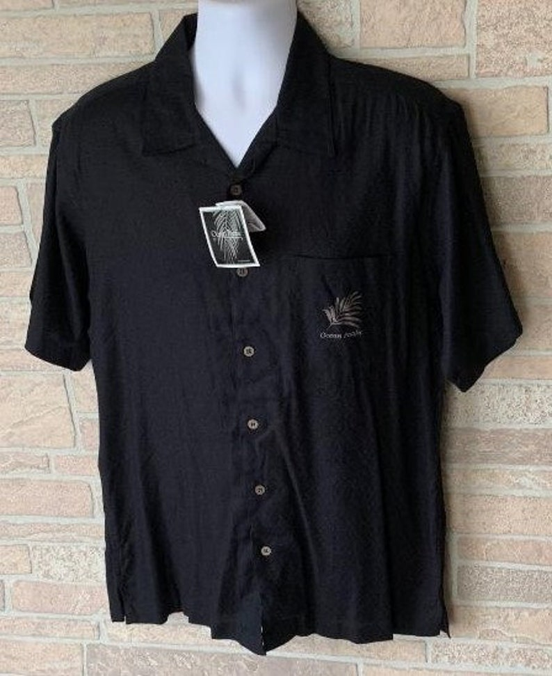 Island Plantation mens hawaiian button Ocean Pacific shirt black rayon cotton medium camp short sleeve