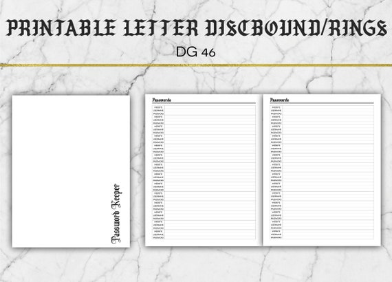 photo relating to Printable Password Keeper named Printable Pword Keeper Include - Pword Tracker - Solution# DG46 - Printable Letter Measurement Increase - Huge Delighted Planner Measurement Incorporate