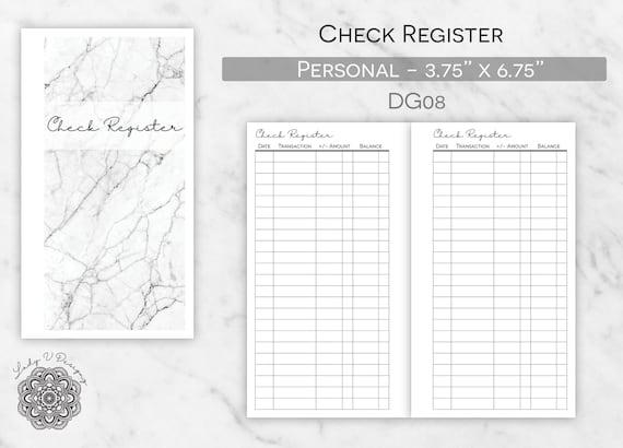 printable check register insert item dg08 printable etsy