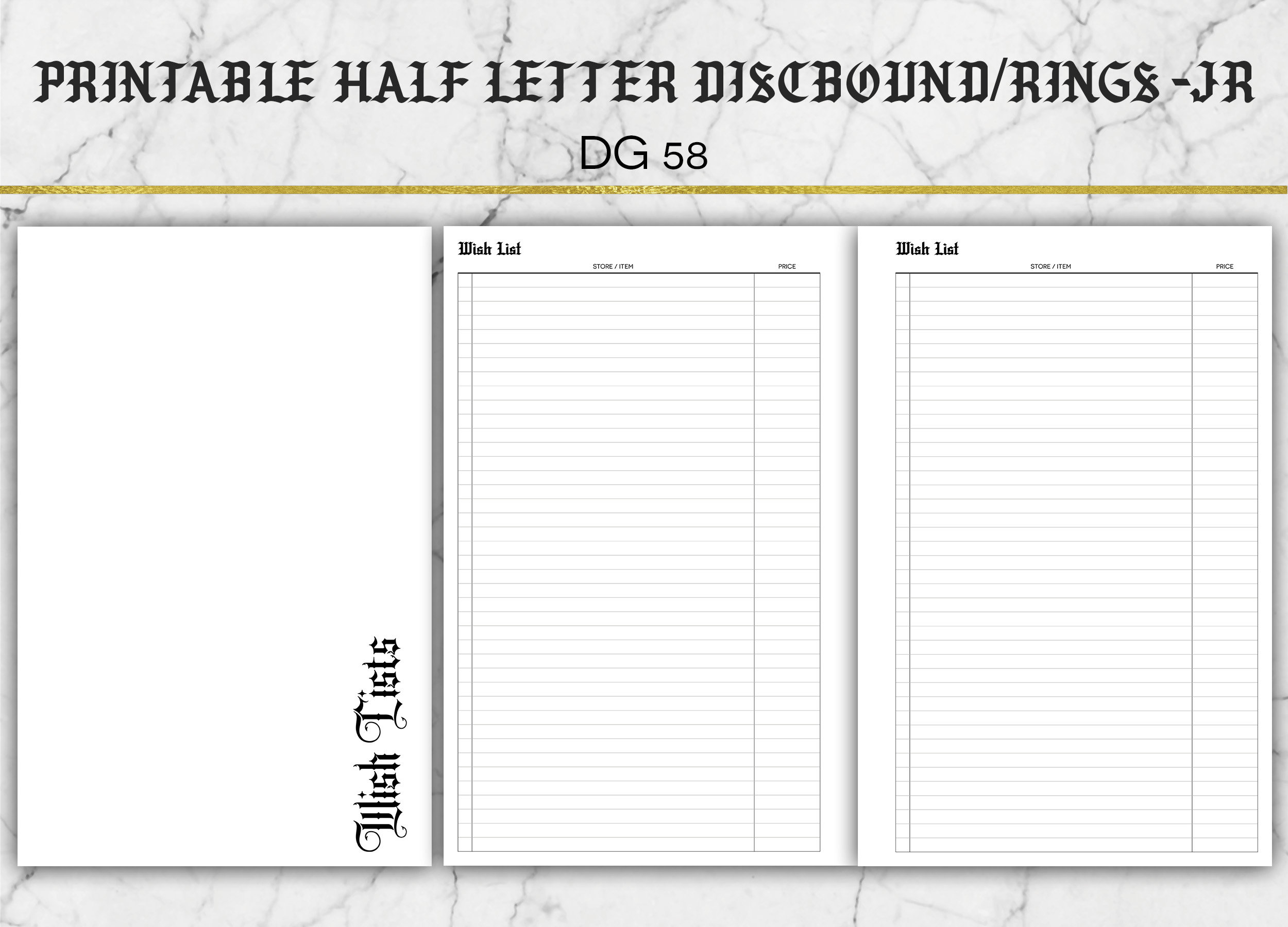 image about Printable Wish Lists identify Printable Need Listing Include - Version 1 - Merchandise# DG58 - Printable 50 % Letter Dimension Add
