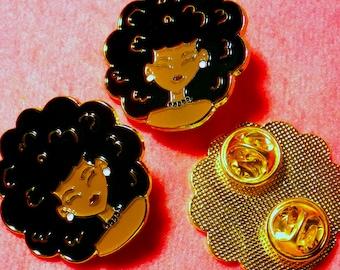 Afro Puff, Natural Hair Girl, Black Girl Pins, Soft Enamel Gold Plated Pins