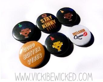 25439e48654b5 Afro Girl Natural Hair Pinback Buttons