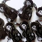 Creepy Grim Reaper, Morning Coffee, Enamel Pin 30mm
