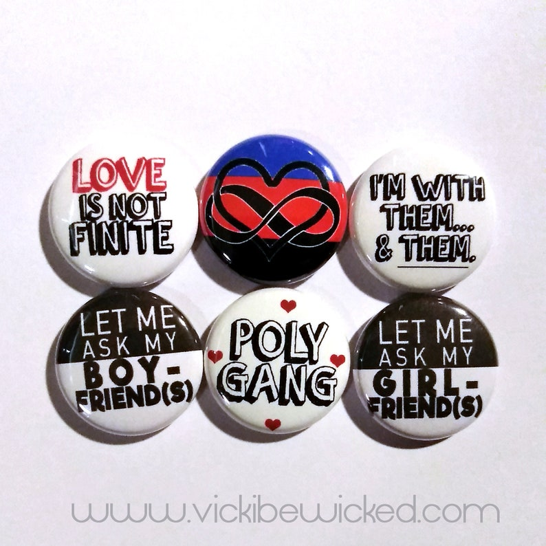 Polyamory Relationship Couple Romantic Love Pinback Buttons image 0