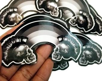 Punk Mohawke Skull Black Rainbow Sticker Decal