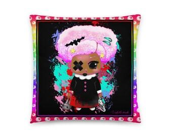 Creepy Kawaii Girl Minky Pillow