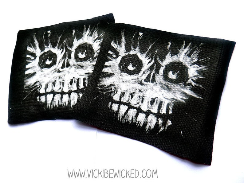 Sew OnMonster Face Black Fabric Patch image 0