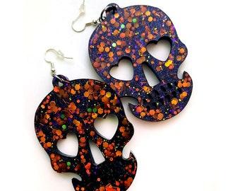 Halloween Glitter Skull Earrings