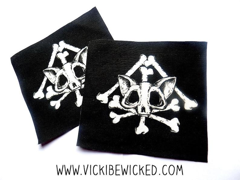 Death Kitty Bone Cat Black Sew On Patch image 0