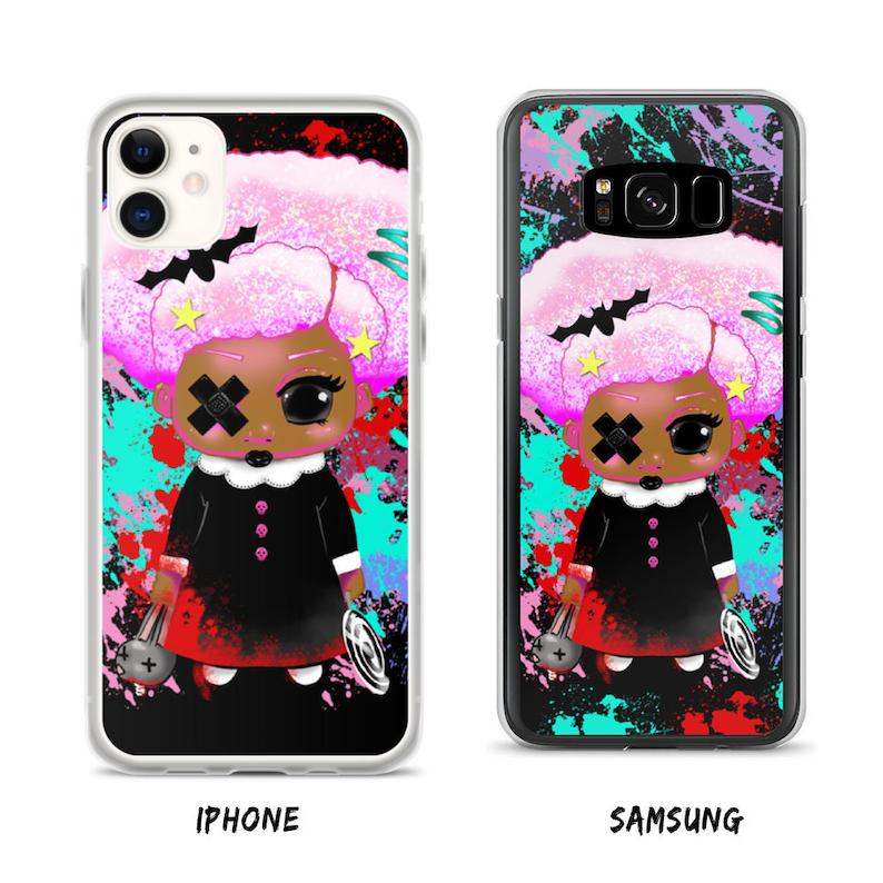 Baby Goth Purple Afro Kawaii Phone Case image 0