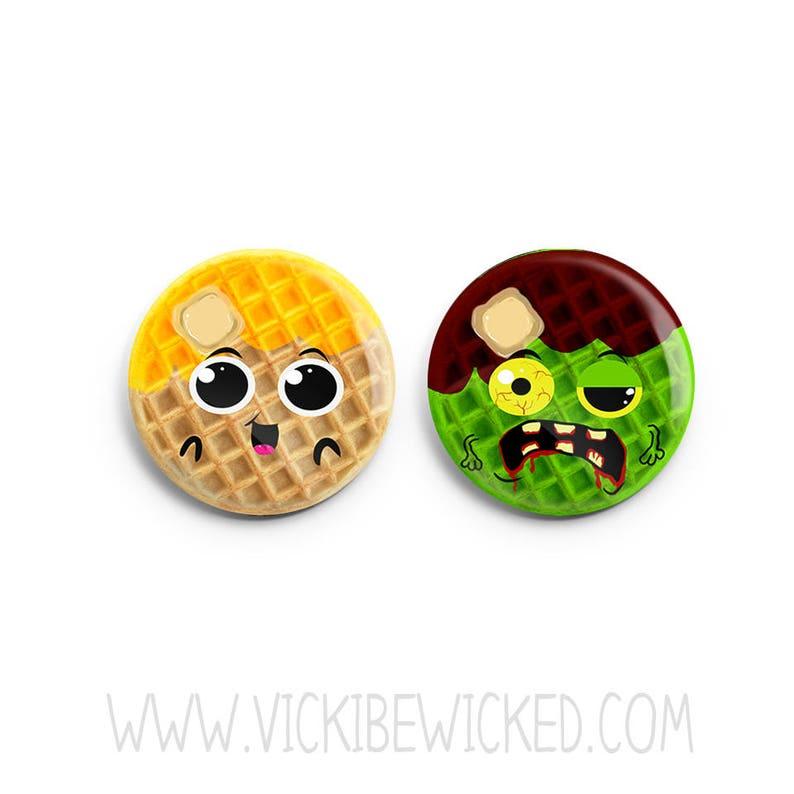 Waffle Pinback Button Zombie Breakfast Button image 0