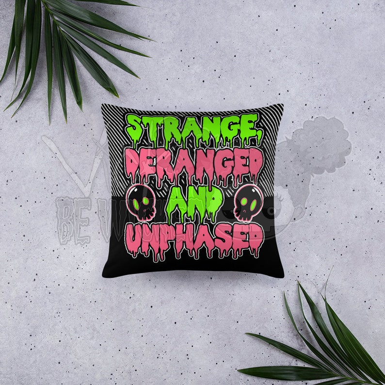 Strange and Deranged Decorative Pillow Goth Pillow image 0