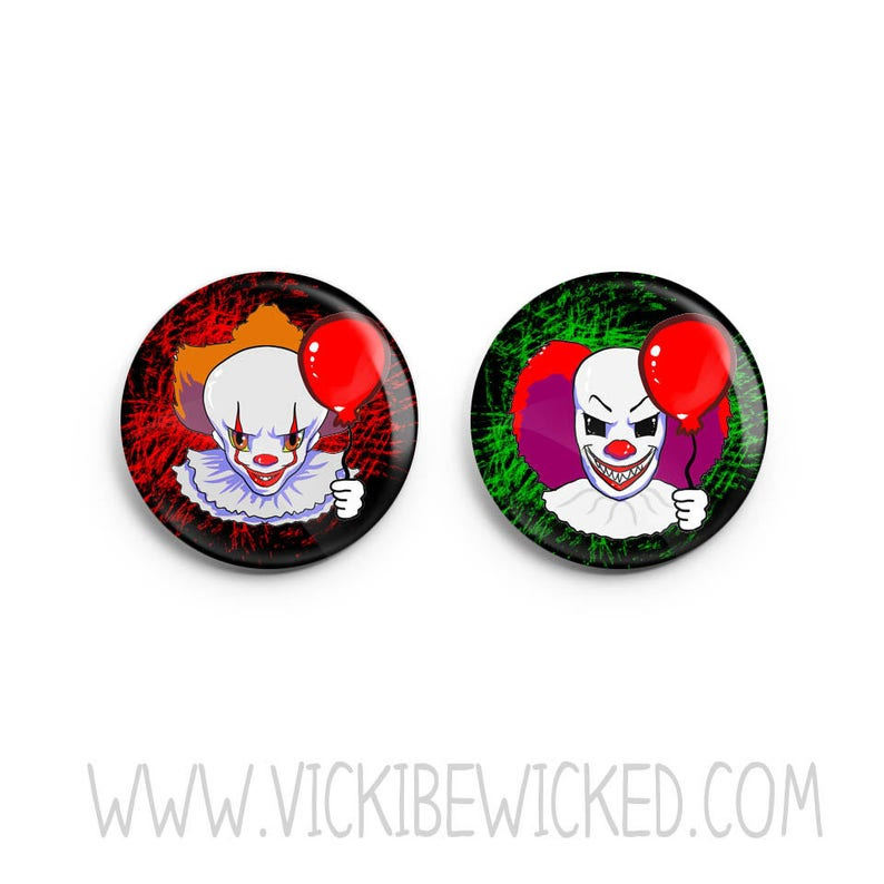 Pennywise Clown Pinback Button Horror Button Creepy Clown image 0