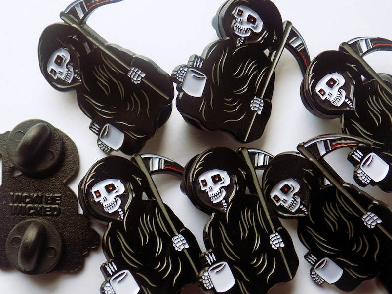 Creepy Grim Reaper Morning Coffee Enamel Pin 30mm image 0