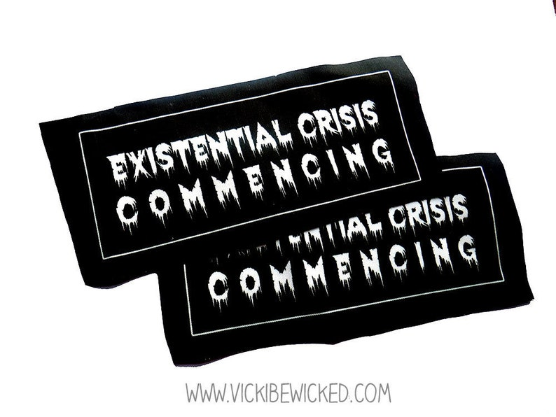 Sew On Existential Crisis Philosophy Black Fabric Patch image 0