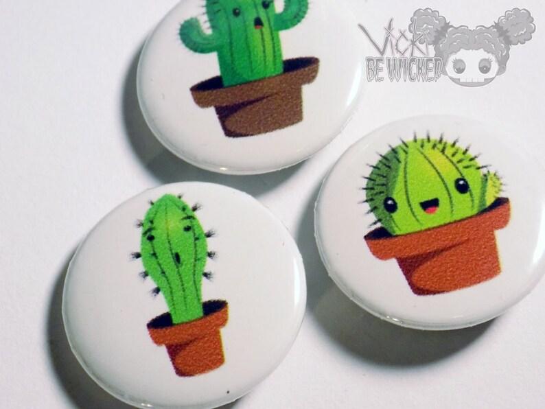 Pinback Button Succulent Cactus Pins image 0