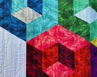 """Modern quilt handmade Full-size   CUBIC COLOR   Contemporary, geometric. Rainbow color. 3-D cubes with dimensional illusion 88"""" x 88"""""""