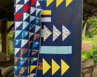 "Modern quilt handmade throw  COMPASS Geometric design, bold colors. Triangle blocks, diagonal stripes. Navy, red, yellow, orange 68"" x 69"""