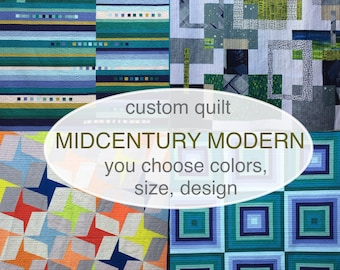 Mid-century Modern Quilt Custom Handmade. King Queen Full Twin Throw or Lap size. You select the design, colors and size. Made-to-order.