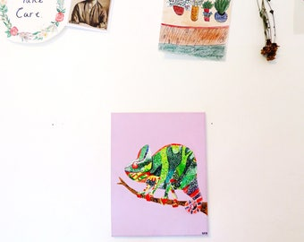Fat Boy Chameleon painting