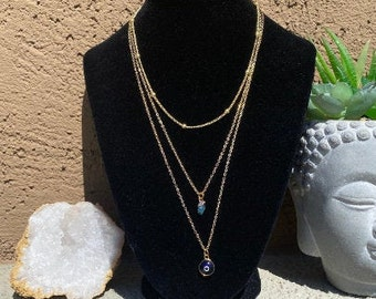 Triple-layered Blue appetite and Evil Eye Gold Necklace