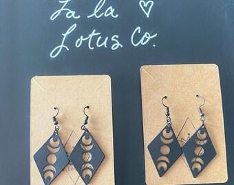 Black moon phase earrings