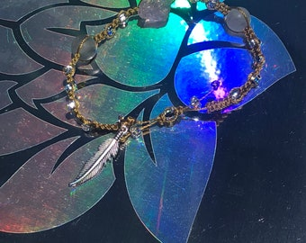Raw amethyst gold adjustable bracelet