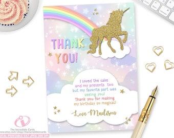 Unicorn Thank You Card Rainbow Gold Glitter Printable DIY