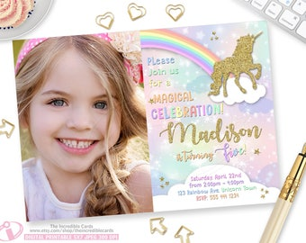 Unicorn Invitation Rainbow Magical Birthday