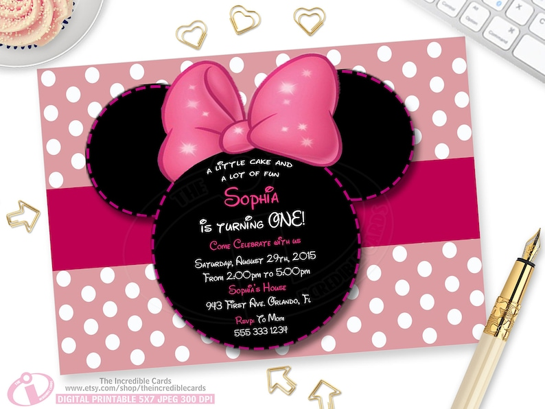 Minnie Mouse Pink 1st Birthday Invitation