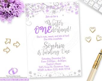 WINTER ONEDERLAND Invitation, Winter Onederland, Winter Wonderland, 1st Birthday, Purple and Silver, Snowflake, Glitter