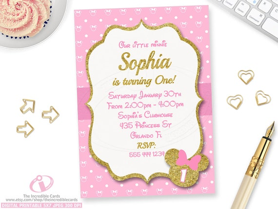 Pink And Gold Minnie Mouse Birthday Party Invitation 1st Etsy