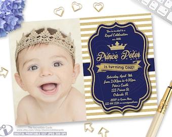 Blue and Gold Birthday Invitation, Our Little Prince, Gold Glitter Stripes, Boy 1st Birthday, Printable Digital, Photo Birthday Invitation