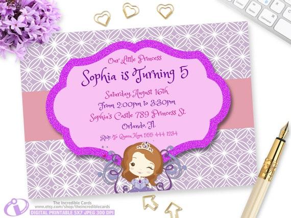 Princess sofia birthday invitation princess sofia party etsy filmwisefo