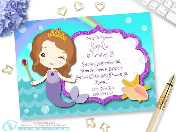 Princess sofia mermaid princess sofia birthday invitation etsy filmwisefo