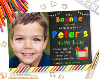 Bounce House, Boy Bounce House Invitation, Jump Party, Photo invitation, Bounce House Birthday Party, Jump Birthday Party, Printable Invite