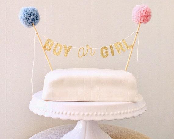 Boy Or Girl Cake Topper Gender Reveal Cake Toppers Baby Shower Cake Topper Gender Neutral Shower Mini Bunting Mini Banner Baby Shower
