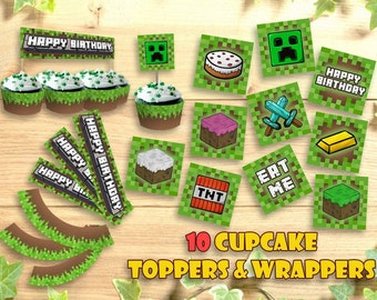 photo regarding Printable Minecraft Cupcake Toppers called Minecraft cupcake Etsy