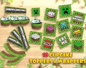 photo regarding Printable Minecraft Cupcake Toppers called Minecraft cupcake Etsy