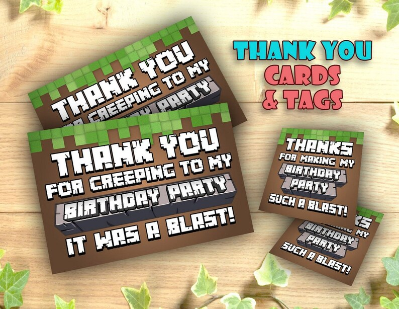Mine Themed Thank You Card and Tag Printable, Birthday Printables, Pixel  Party, Inspired by Mineventure, Cards Notes Thanks Instant Download