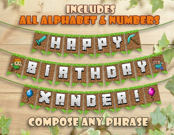 Mine Themed Birthday Banner Party Printable Personalized Etsy