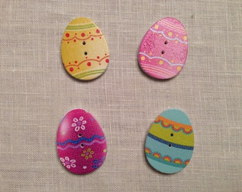 Set of 10 wooden Easter eggs assorted-colored buttons