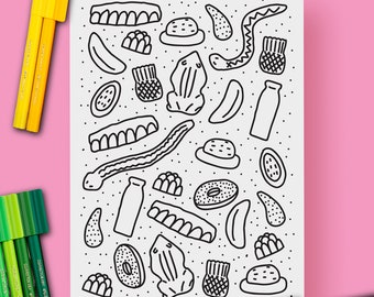 Lollies Candy Confectionary Colouring Sheet