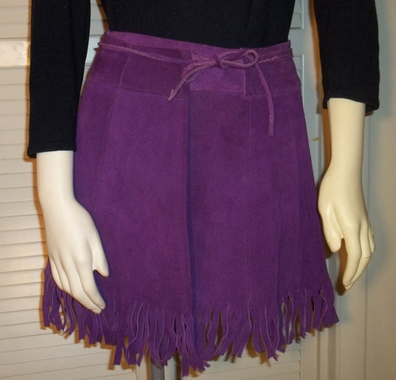 1960's Purple Suede Wrap Mini Skirt with Fringe