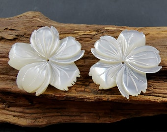 12 Assorted White Mother of Pearl Shell  Flowers for Inlay