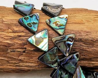WHOLESALE LOT of 4  Beautiful Triangle Paua Abalone Shell Component Pendants