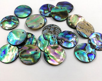 10 Pieces 15mm Abalone Shell Round Charm Paua Shell Round Charms Pendant
