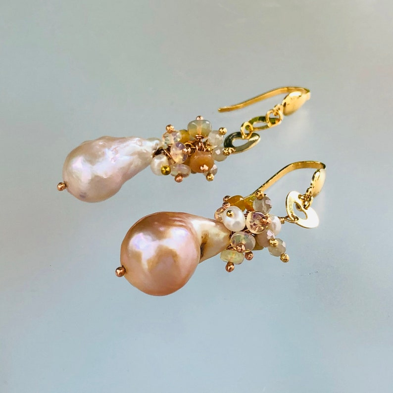 Freshwater Baroque Pearls And Fire Ethiopian Opal Earrings; Women\u2019s  Dangle Drop Gold Filled Earrings