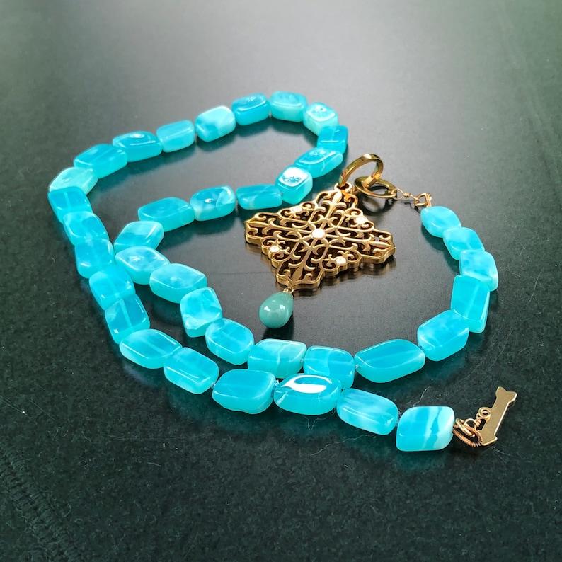 Blue Peruvian Opal necklace